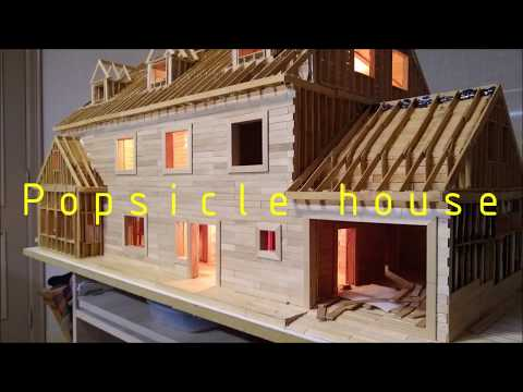 10 000 POPSICLE STICKS BUILDING WITH LIGHTS #SCALE MODEL HOUSE
