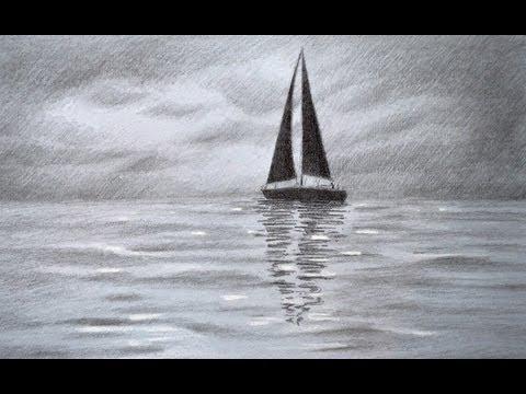 Cmo dibujar un velero en el mar con un cierlo nubado  Arte