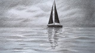Cómo dibujar un velero en el mar con un cierlo nubado - Arte Divierte