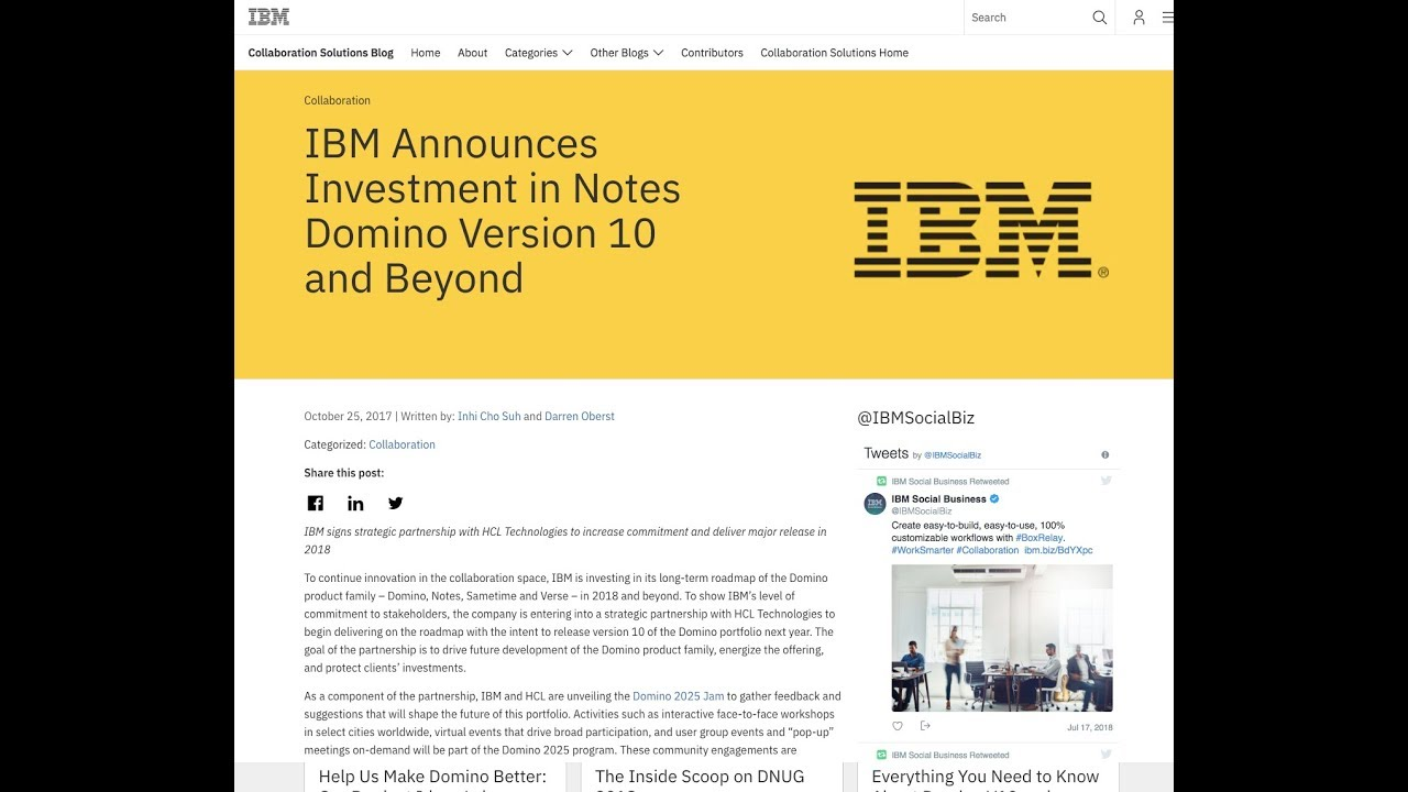 In The Next Version - HCL Acquires the IBM Collaboration