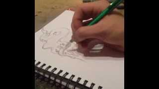 tattoo flash hourglass/candle time lapse drawing