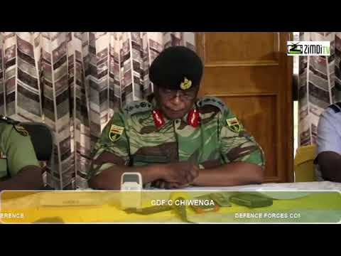 Zimbabwe Defence forces address the press before military takeover