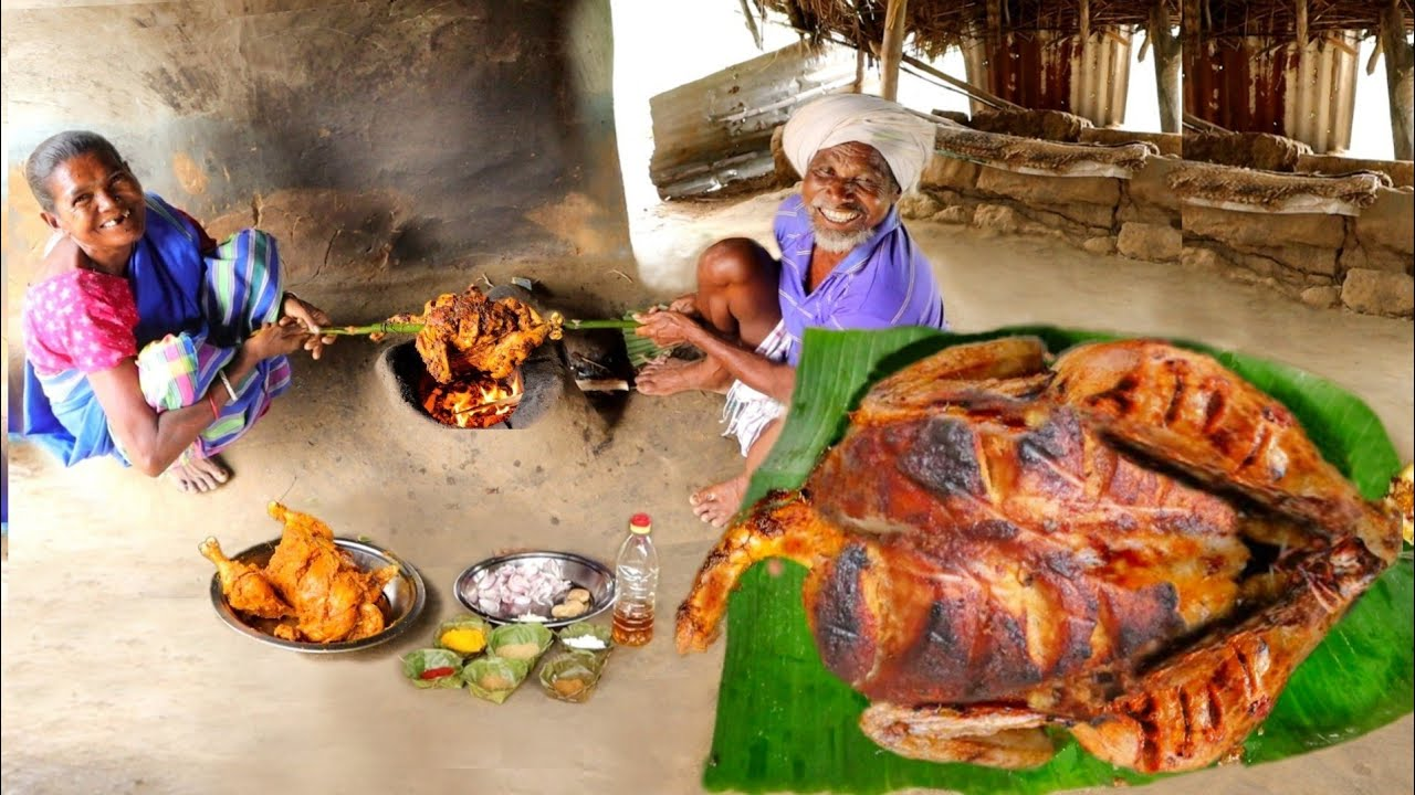 FULL GRILLED CHICKEN ROAST cooking & eating by a santali tribe couple || Indian rural village