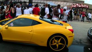 gucci mane in his yellow ferrari 458 on forgiatos stunt fest 2012 1080p hd