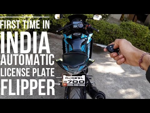 #smart Bike #R15 First Time In India Automatic License Plate Folding , Unfolding System