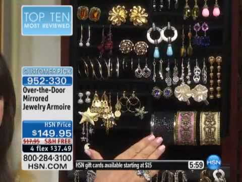 Over The Door Mirrored Jewelry Armoire