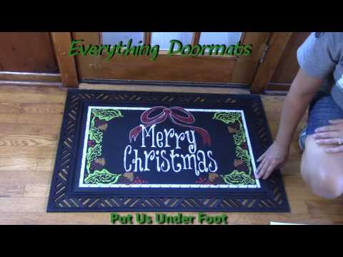 Merry Christmas Bow Insert Doormat - 18 x 30