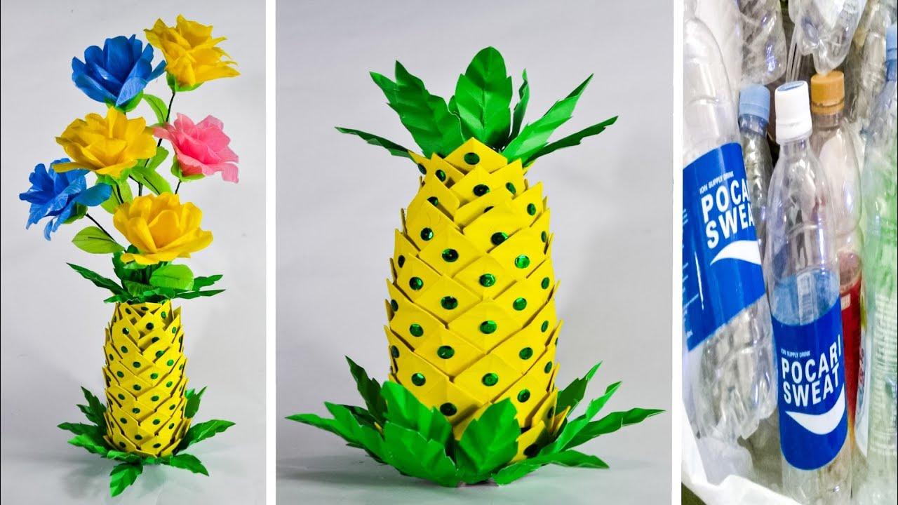Kreasi Vas Bunga Dari Botol Bekas Bentuk Nanas Craft With
