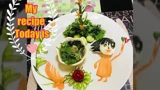 Cucumber carrot and seaweed soup ( Thai vegan food)