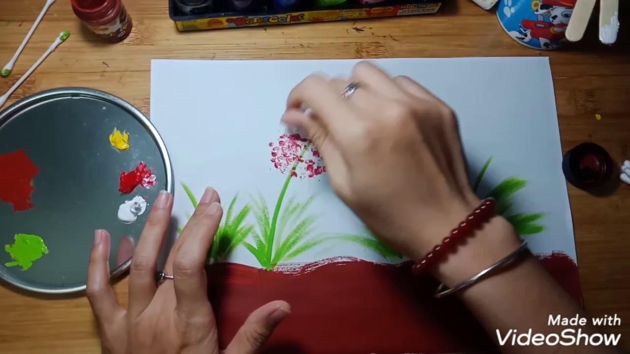 Vẽ hoa bằng tăm bông