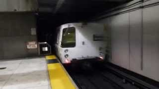 San Francisco Bay Area Rapid Transit: BART Blue Line Train at Embarcadero Station