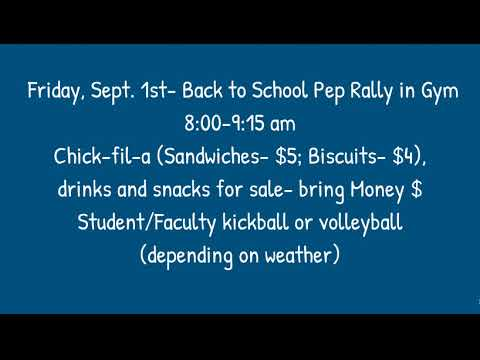 Aynor Middle School Daily Announcements 8-31-17