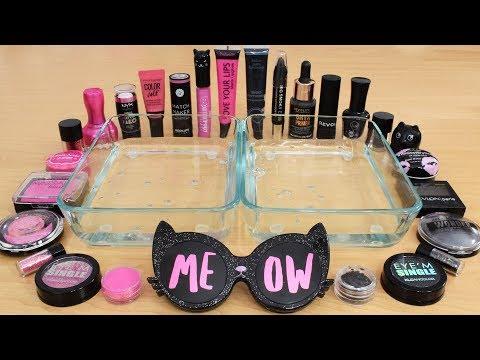 Pink vs Black - Mixing Makeup Eyeshadow Into Slime! Special Series 139 Satisfying Slime Video