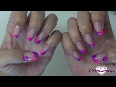 Uñas Acrilicas Con Esmalte Permanente En Dos Colores Youtube