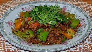 Мясо жареное с острым зеленым перцем(青椒炒肉, Qīngjiāo chǎo ròu). Китайская кухня.