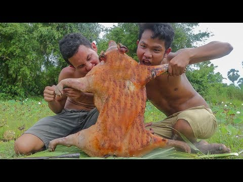 Primitive Technology: Wild Pig Deep Hole Trap and Cooking Big Pig Eating Delicious