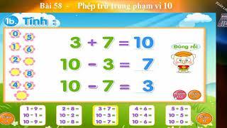 Toán lớp 1, Bài  58, Phép trừ trong phạm vi 10,  hoc toan, học toán, toán học, toán học