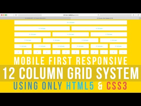 Mobile First Responsive 12 Column Grid System using only HTML5 and CSS3