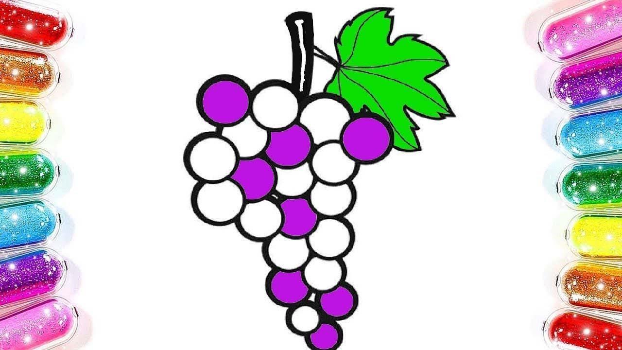 Meyveleri öğreniyorum üzüm Boyama çocuklar Için Renkler Sihirli