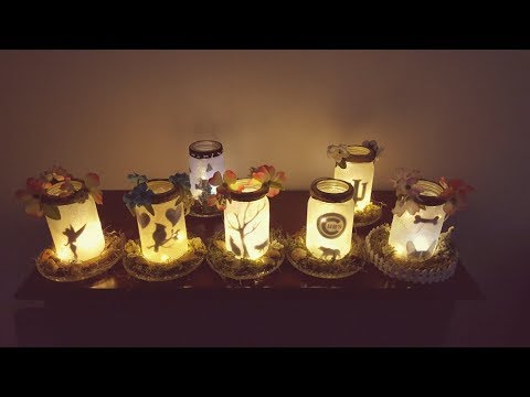 Dollar Tree Tutorial. Sparkly lighted mason jars with base.