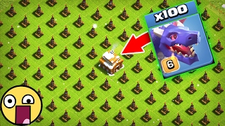 100 Dragons VS 500 Air defences in clash of clans OMG