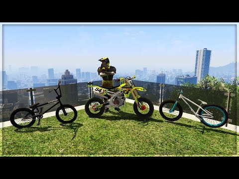 GTA 5 MODS - INSANE BIKE STUNT MODS - YAMAHA YZ450F, MOTHERSHIP BMX & JUMP BIKE (GTA V PC MODS)