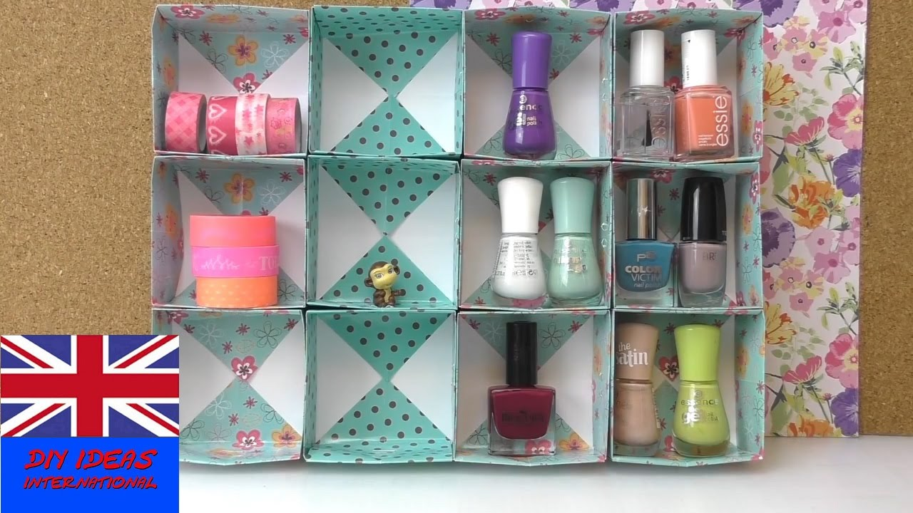 diy organization ideas for your makeup how to make a cupboard for nailpolish and make up youtube. Black Bedroom Furniture Sets. Home Design Ideas
