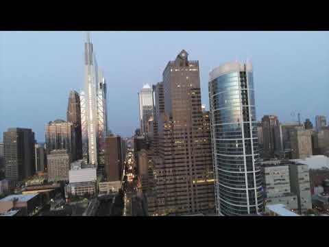 Philadelphia Skyline Penn Station Schuylkill River Low light test  Parrot anafi