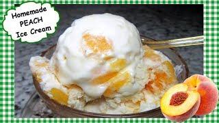 Homemade PEACH ICE CREAM Recipe ~Easy No Churn Peach Ice Cream