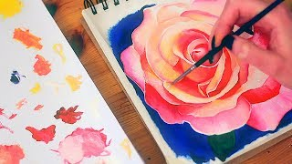 PAINTING A ROSE 🌹SKETCHBOOK (Oil Painting)