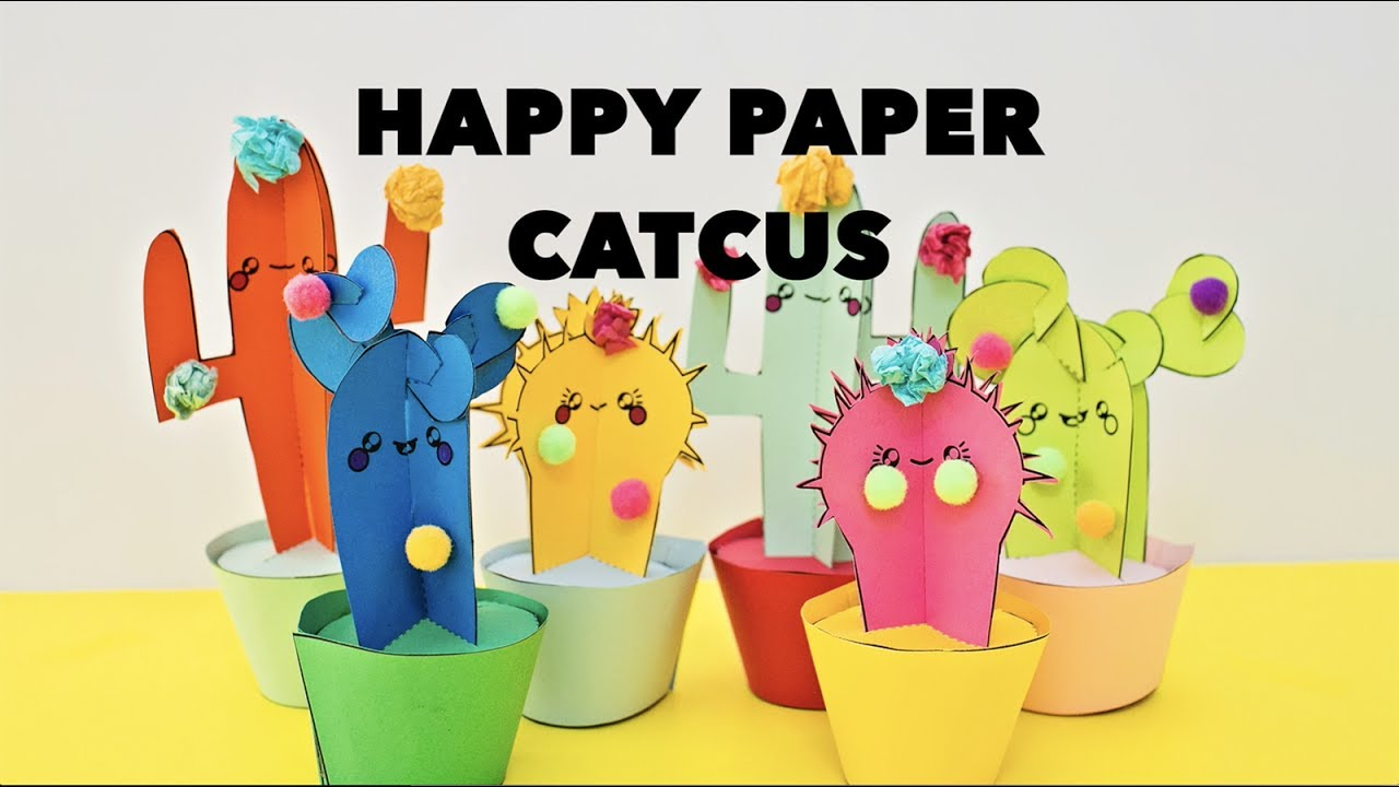 how to make paper cactus craft with template youtube