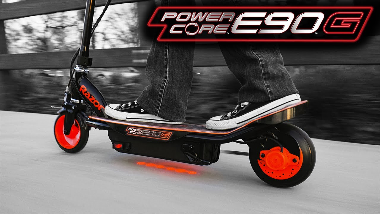 Razor Power Core E90 Glow Electric Scooter Ride Video with Features