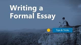 Writing A Formal Essay
