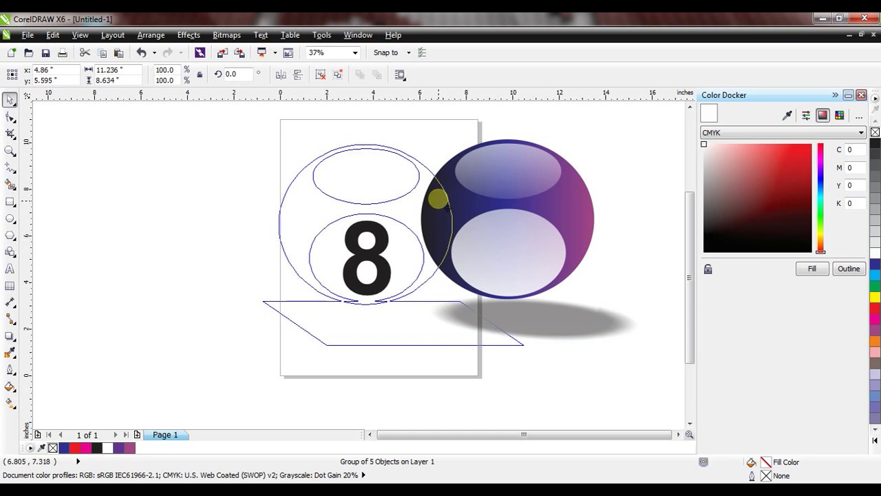 How to design Pool Ball with shadow effect (Corel Draw X6)