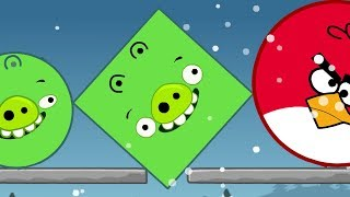 Angry Birds Kick Out Green Piggies - HUGE ROUND BIRDS KICK OUT SQUARE AND ROUND PIGGIES!