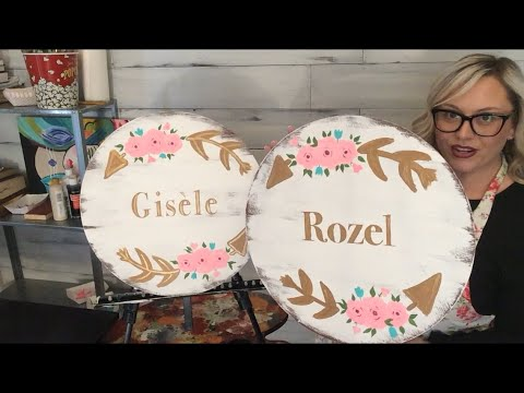 TWIN GIRLS NURSERY SIGNS / PAINTING STEP BY STEP FOR BEGINNERS / EASY PAINTING TUTORIAL / DIY / WOOD