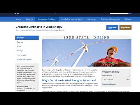 Penn State's Online Graduate Courses in Wind Energy