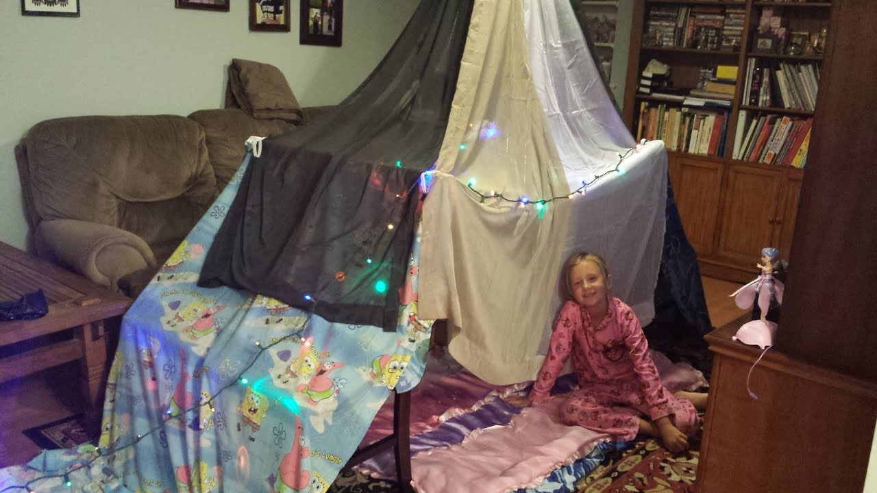 How to build a simple n easy indoor blanket fort tent for 3 4