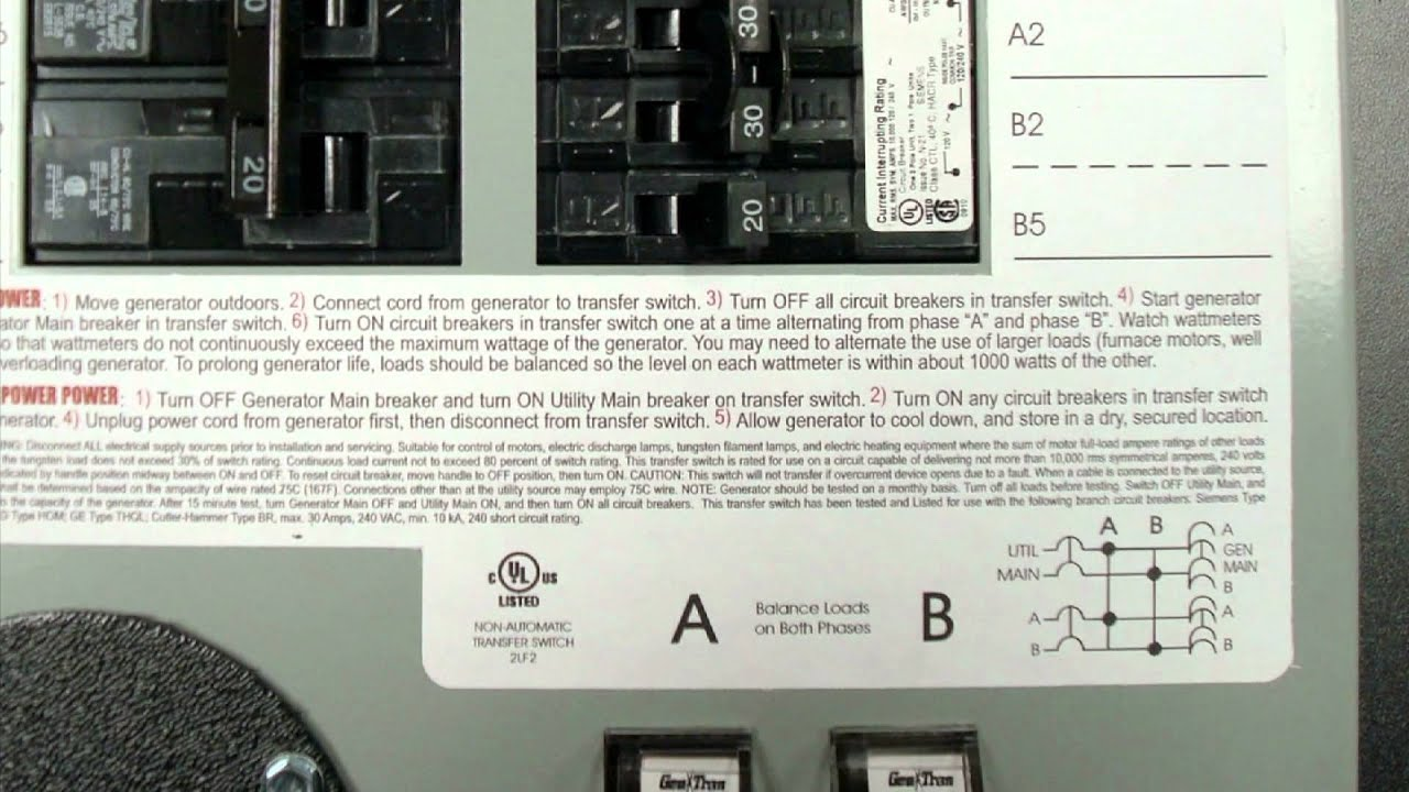 gen tran 30 amp manual transfer switch kit [ 1280 x 720 Pixel ]