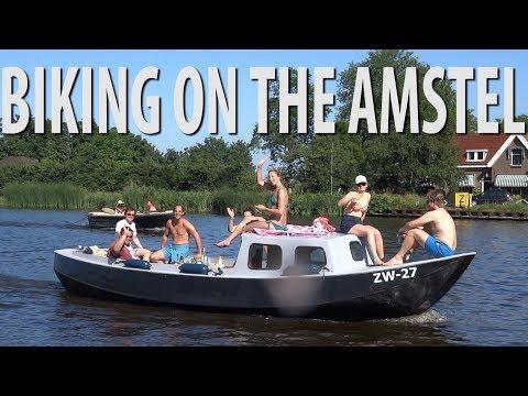 Biking Along the Amstel River Amsterdam
