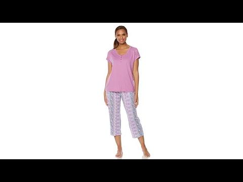 KN Cool by Karen Neuburger Henley/Capri Pajama Set. http://bit.ly/2FvZpl7