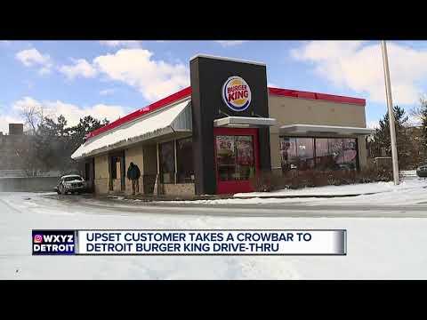 Upset customer takes crowbar to Detroit Burger King Drive-thru