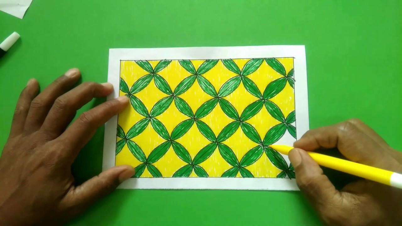 Menggambar Batik Kawung Motif Kotak Kotak Yang Mudah Dan Cepat Youtube