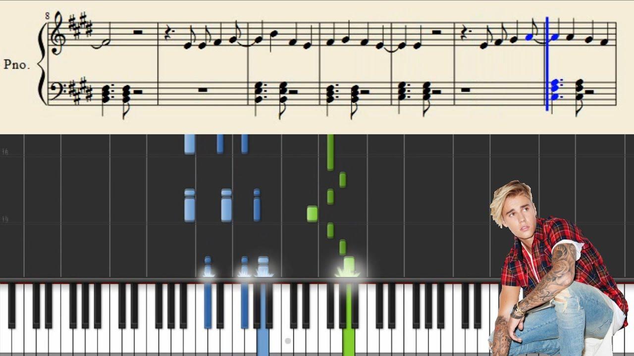 Justin Bieber - Love Yourself - Piano Tutorial + Sheets - YouTube