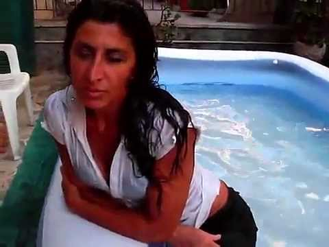 Wetlook sexy hot girl in wet tight clothes