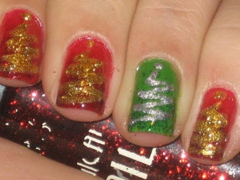 Nail art tutorial: Easy Christmas tree nails! - YouTube