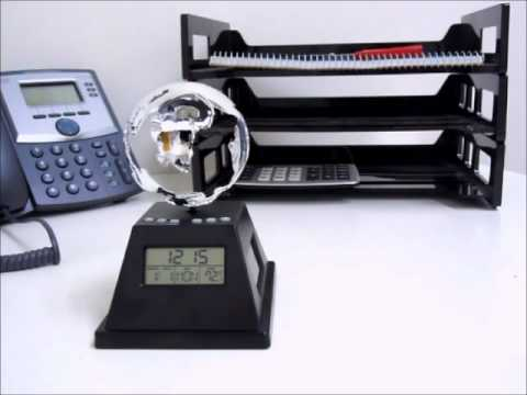 Solar Power Spinning Globe With Clock | Office Playground