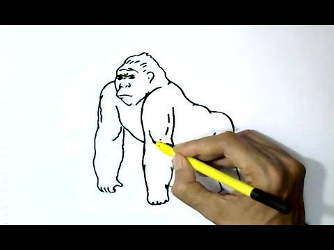 How to draw Gorilla  in  easy steps for children, kids, beginners