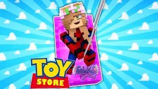 SPIDERMAN LITTLE KELLY SAVES HARLEY QUINN! Minecraft ToyStore thumbnail