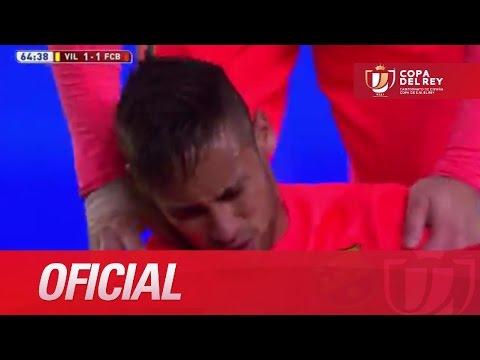 Expulsión de Pina por la dura entrada sobre Neymar